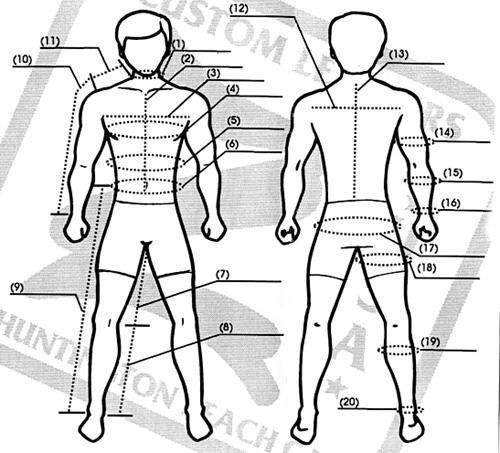 z custom leathers sizing information
